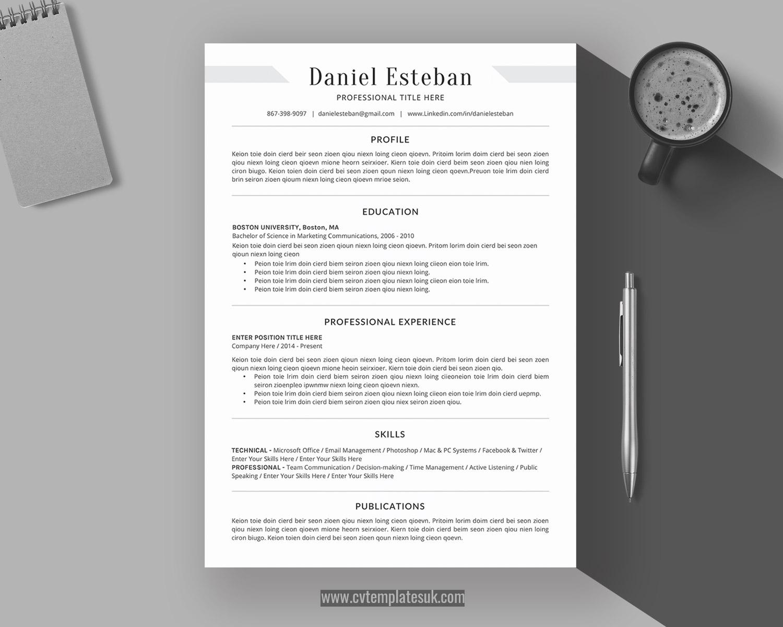Student Cv Template Ms Word Cv Format Professional Resume Template Uk Design Cover Letter References Simple And Clean Resume Format For Job Application Instant Download Cvtemplatesuk Com