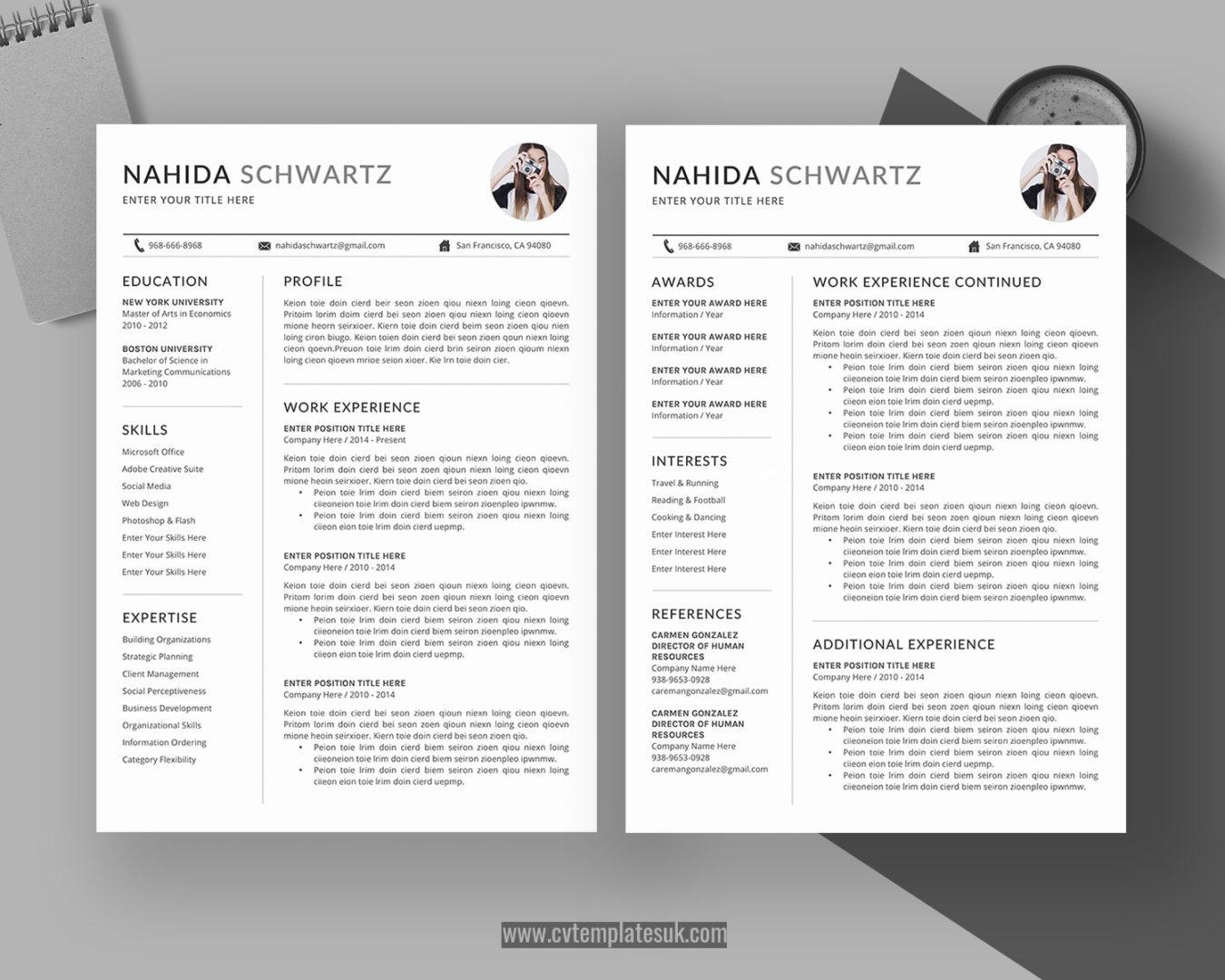 Editable CV Template UK, Resume Template UK, MS Word CV ...